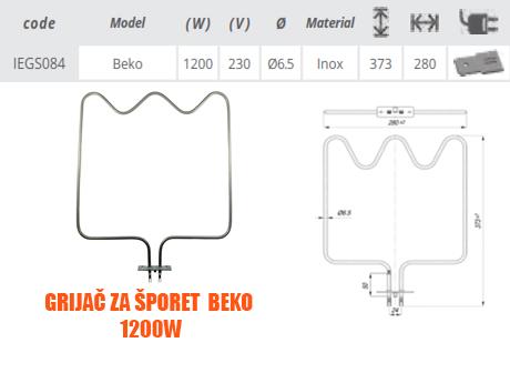 Grijač/grijači šporeta/štednjaka Beko 1200W