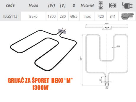 Grijač/grijači šporeta/štednjaka Beko M 1300W