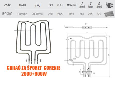 Grijač grijači šporeta štednjaka Gorenje 2000+900W Elektro Vukojevic
