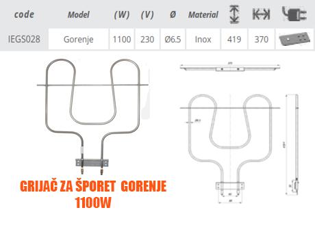Grijač/grijači šporeta/štednjaka Gorenje NT 1100W