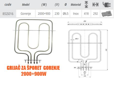 Grijač/grijači šporeta/štednjaka/rerne Gorenje 2000+900W