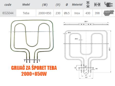 Grijač/grijači šporeta/štednjaka Teba 2000+850W