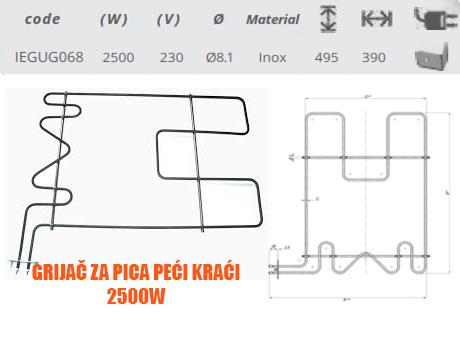 Grijač/grijači šporeta/štednjaka pica peći kraći 2500W