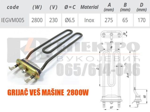 Grijac ves masine 2800W IEGVM005 Elektro Vukojevic