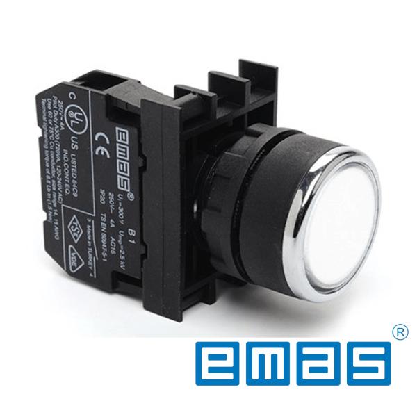 Taster bijeli sa adapterom 1NO kontaktom, fi 22mm EMAS Elektro Vukojevic