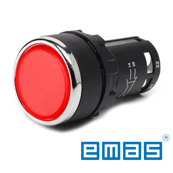 Taster crveni 2NO, 22mm EMAS Elektro Vukojevic