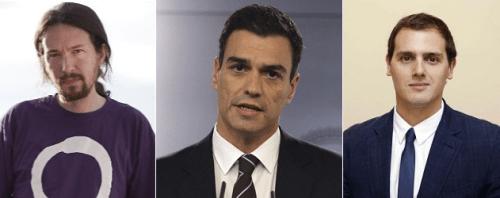 Pedro Sánchez con Pablo Iglesias y Albert Rivera