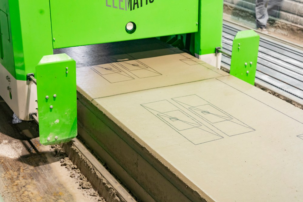 Elematic Plotter that makes both speed and accuracy in hollow core slab plotting possible, in action.