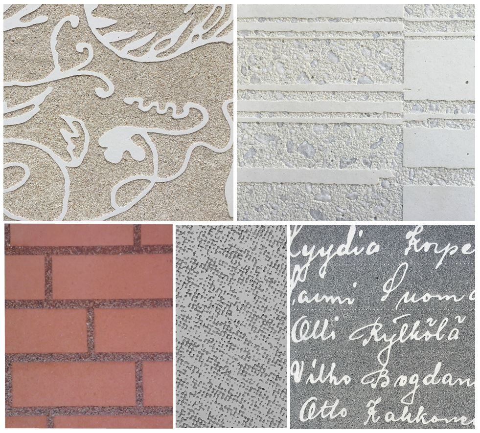 Examples of prints on precast slabs made with graphic concrete.