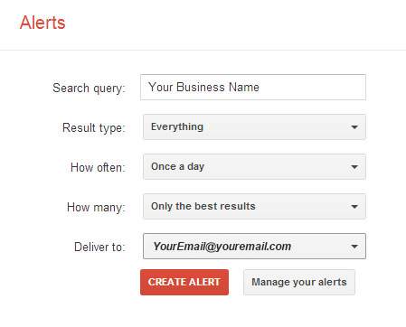 Google Alerts to Monitor Your Business Name