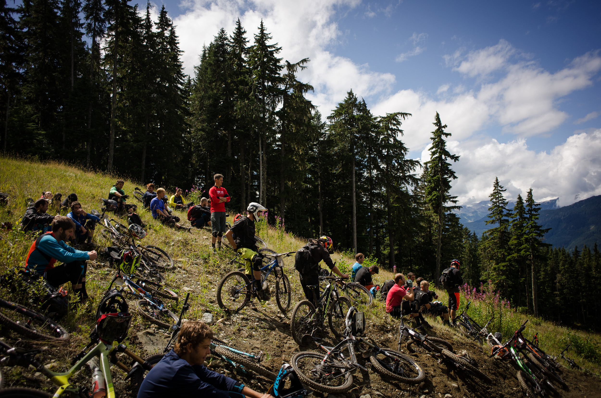 Racers wait to start Stage 4 of the 2015 Enduro World Series at Whistler in British Columbia.