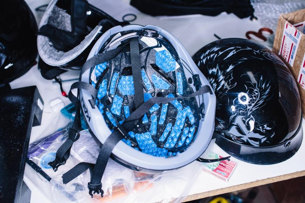 A prototype Kali Tava aero helmet overloaded with Armourgel