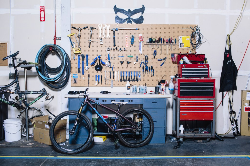 A fully-equipped bike work area