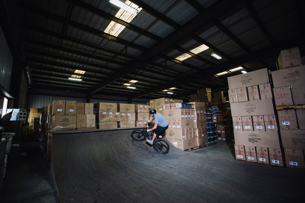 There's also this half pipe amongst all the helmets in the warehouse.