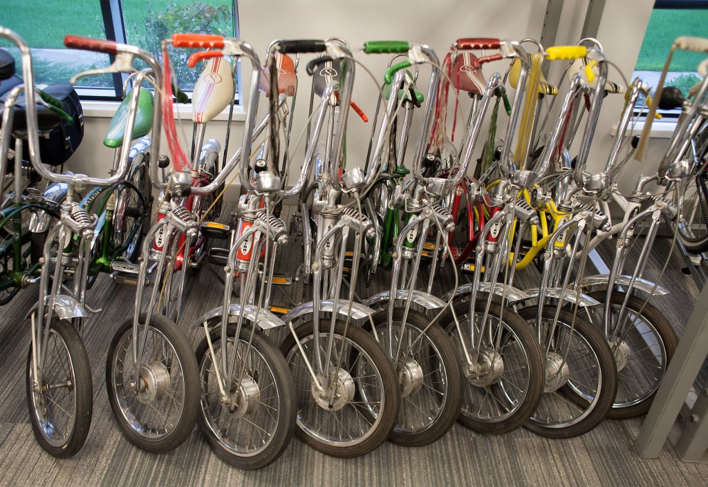 Schwinn Stingrays in the office of Park Tool, which originated out of the back room of a Schwinn dealership. Photo: David Pierini/Element.ly
