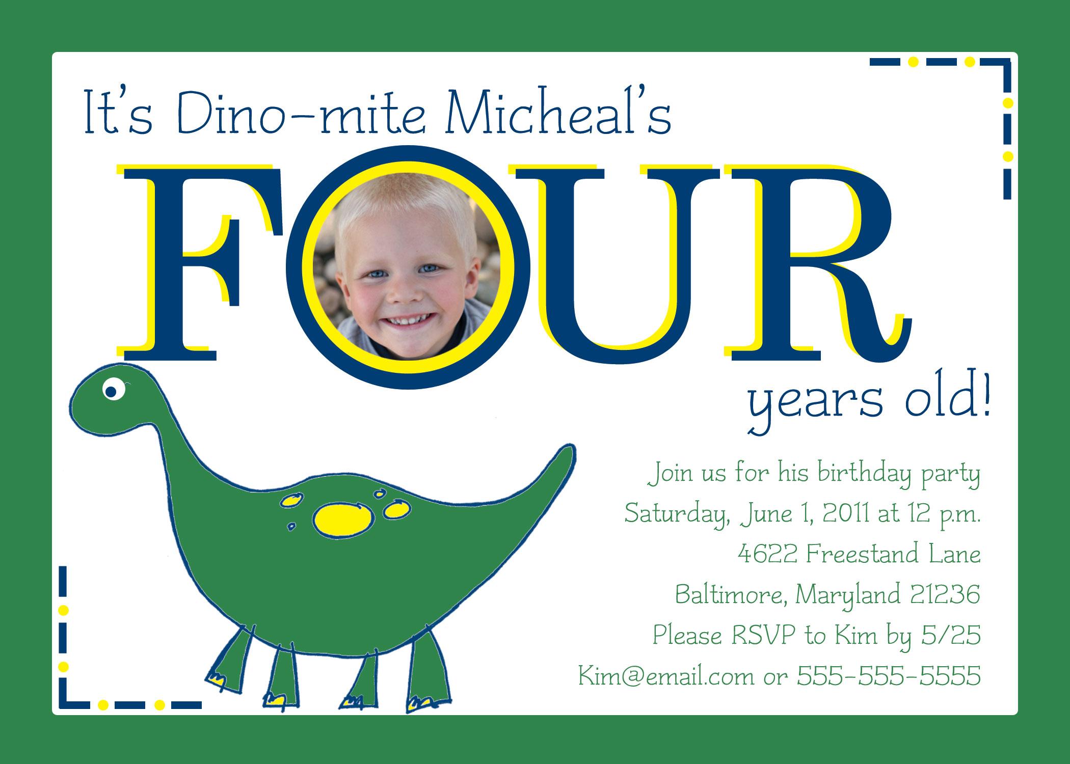dinosaur birthday invitation element