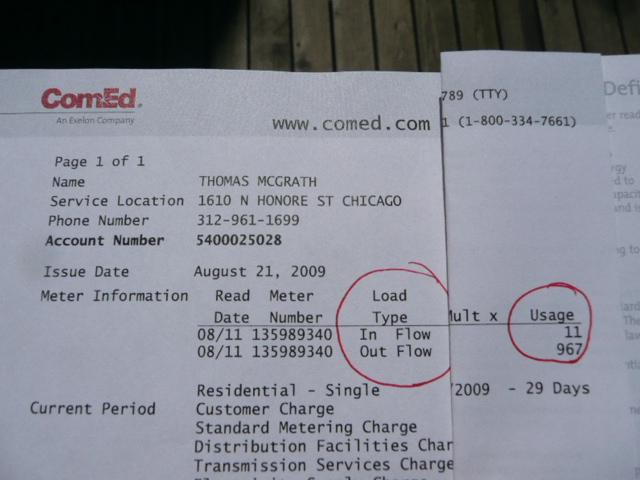 Net-Metering bill from Com-ed