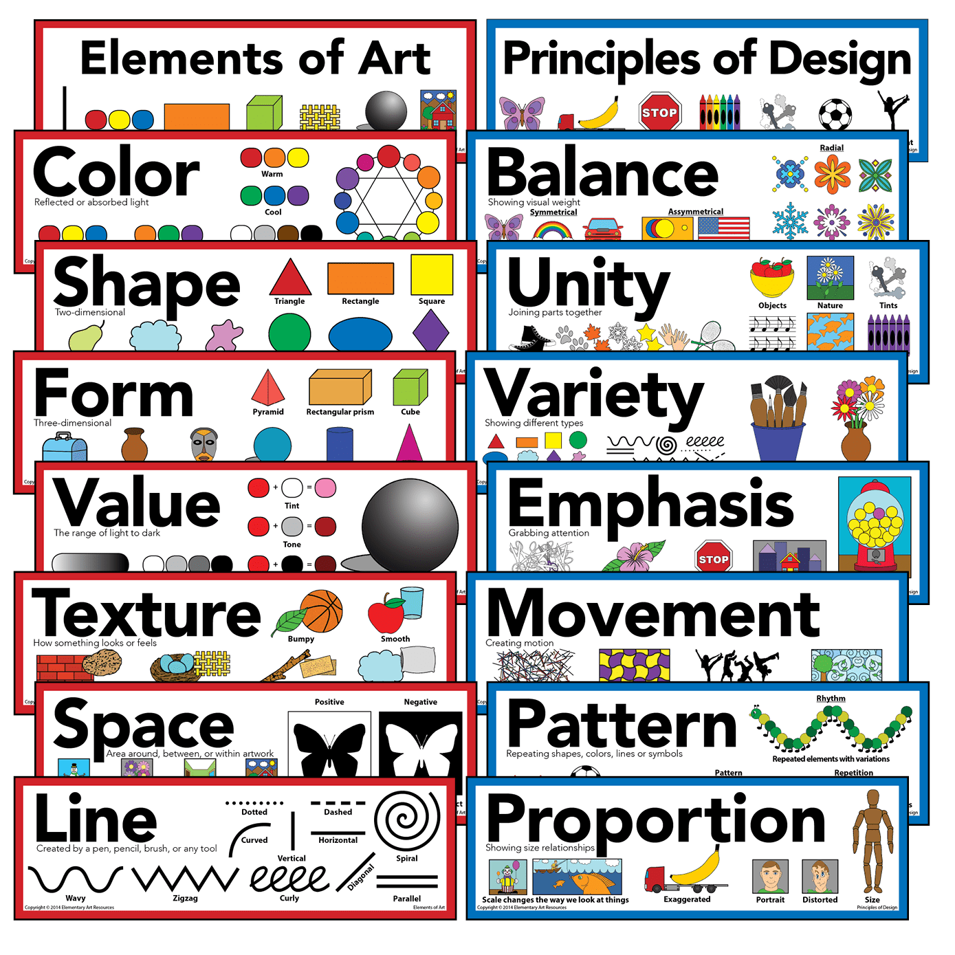 Elements Of Art Amp Principles Of Design Mini Poster Set