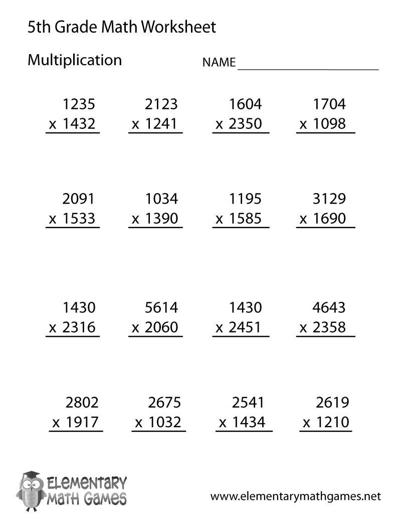 Fifth Grade Multiplication Worksheet