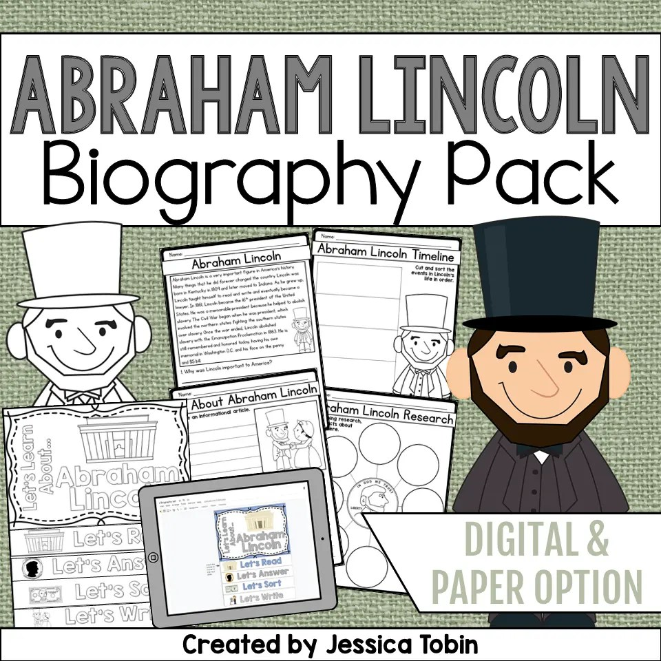 medium resolution of Abraham Lincoln Biography Pack - Elementary Nest