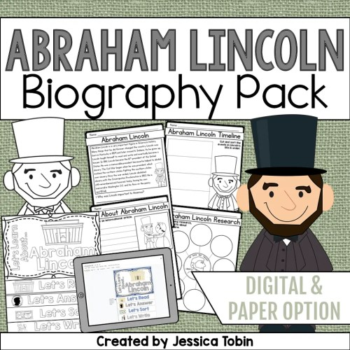 small resolution of Abraham Lincoln Biography Pack - Elementary Nest