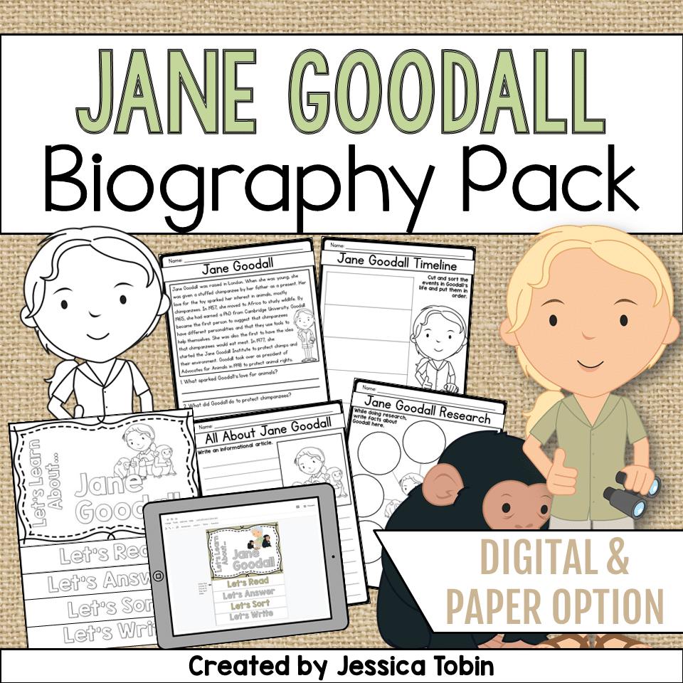 medium resolution of Jane Goodall Biography Pack - Elementary Nest
