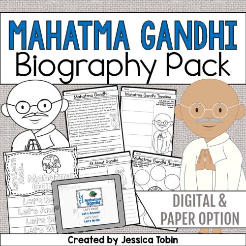 small resolution of Mahatma Gandhi Biography Pack - Elementary Nest