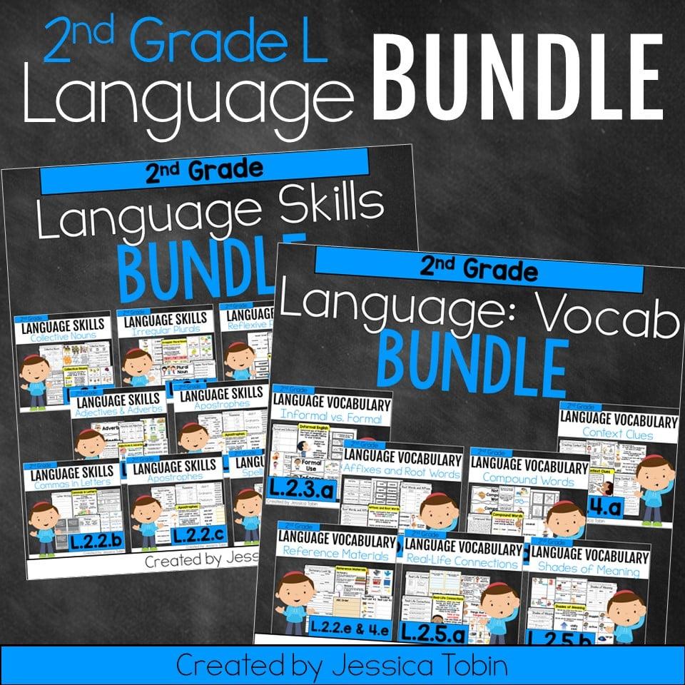 hight resolution of 2nd Grade Language Domain Bundle - Elementary Nest