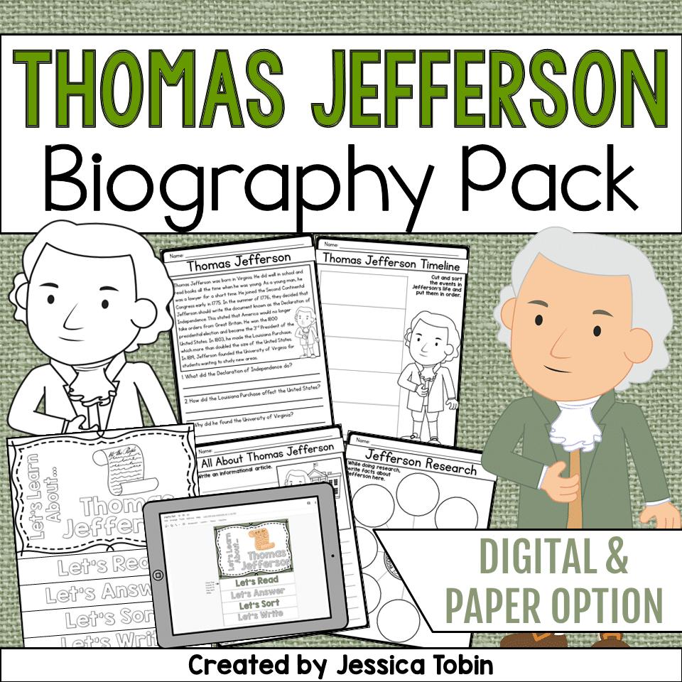 hight resolution of Thomas Jefferson Biography Pack - Elementary Nest