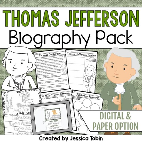 small resolution of Thomas Jefferson Biography Pack - Elementary Nest