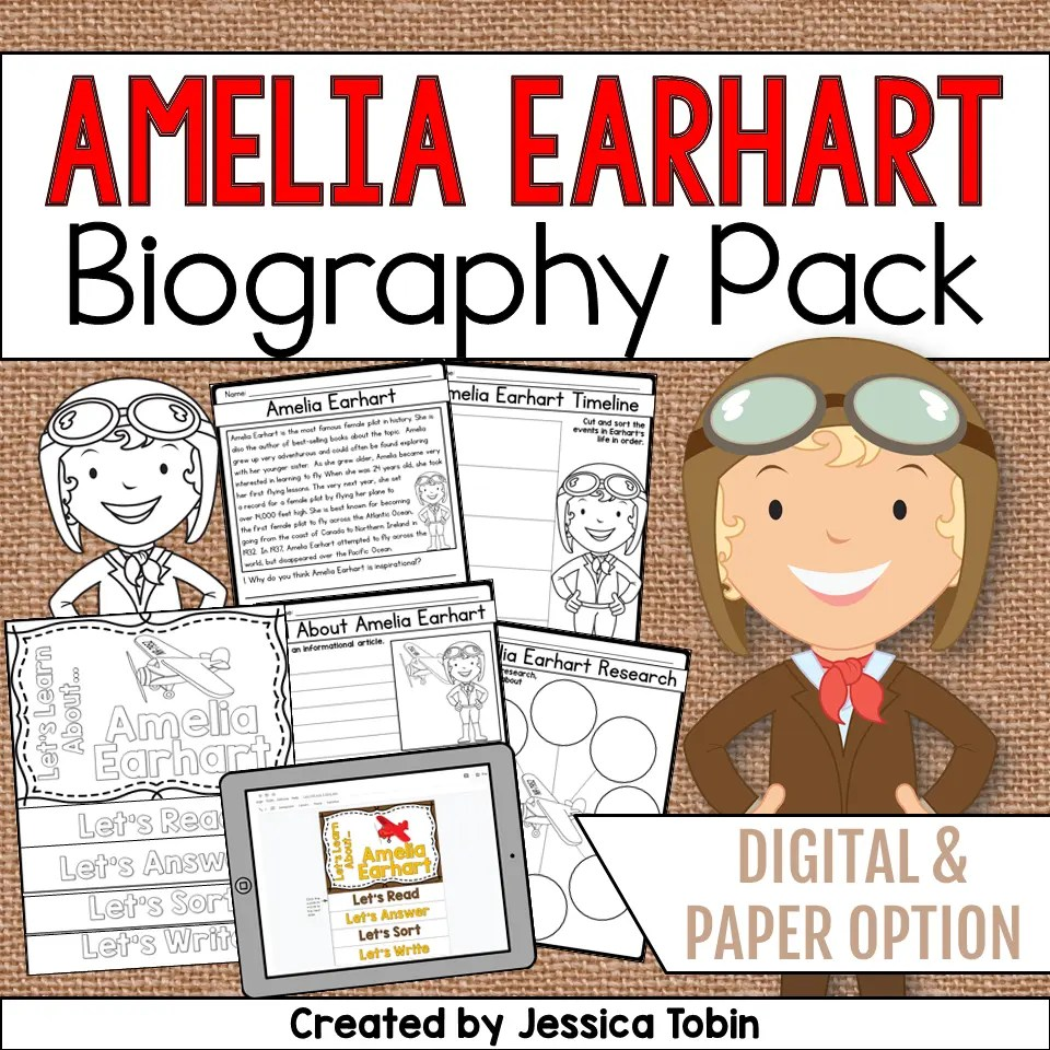 hight resolution of Amelia Earhart Biography Pack - Elementary Nest
