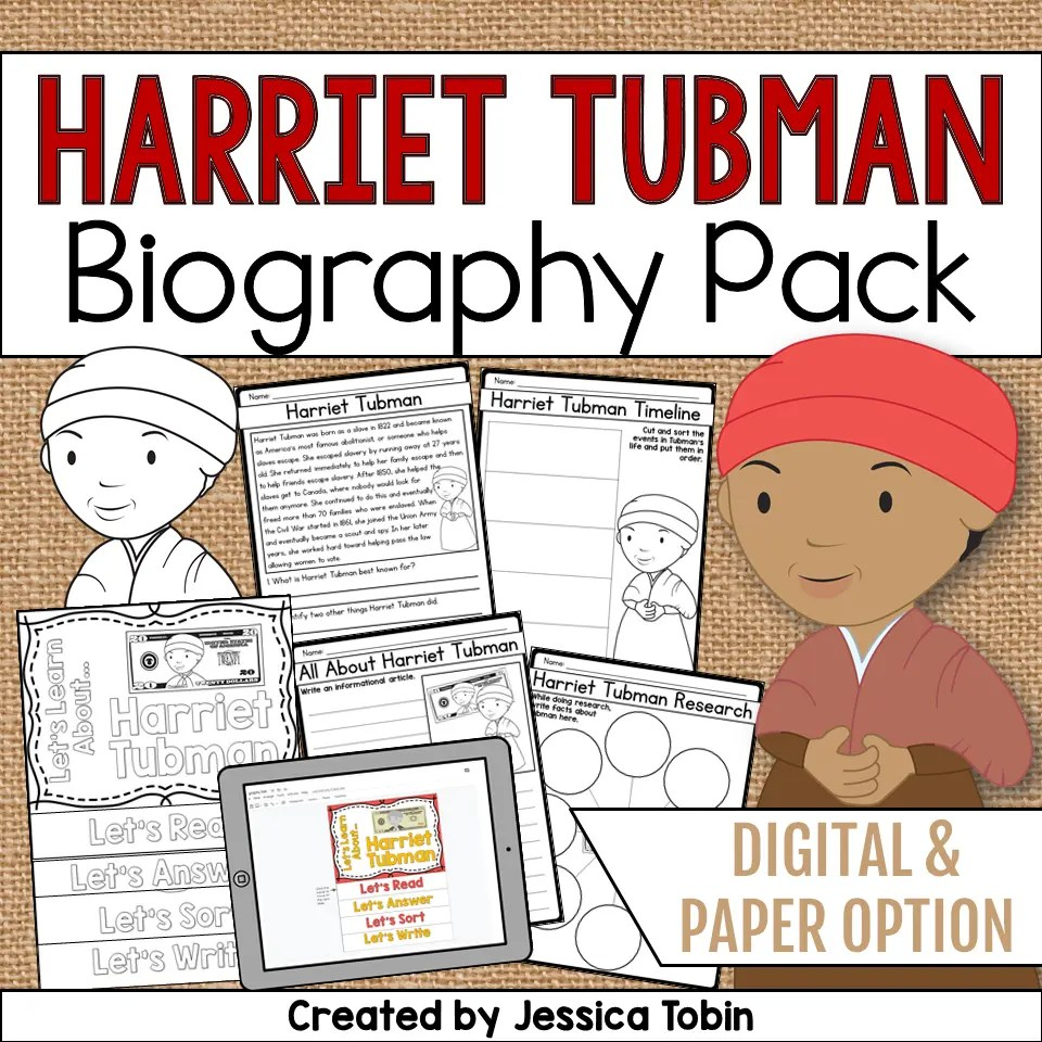 medium resolution of Harriet Tubman Biography Pack - Elementary Nest