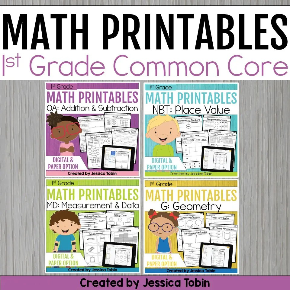 medium resolution of 1st Grade Math Worksheets Bundle - Elementary Nest