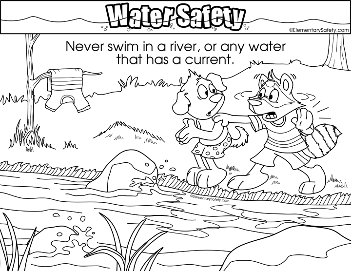 Never Swim In River • Coloring Water Safety