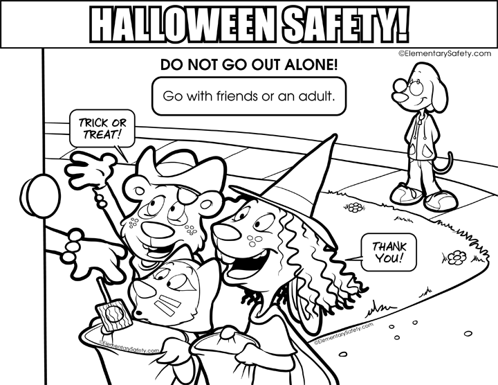 Do Not Go Out Alone • Coloring Halloween Safety