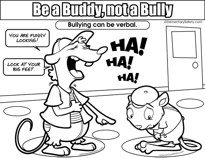 Verbal Bullying • Coloring Be Buddy Not Bully