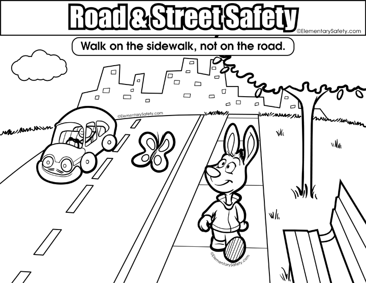 Sidewalk Vs Road • Coloring Road Street Safety