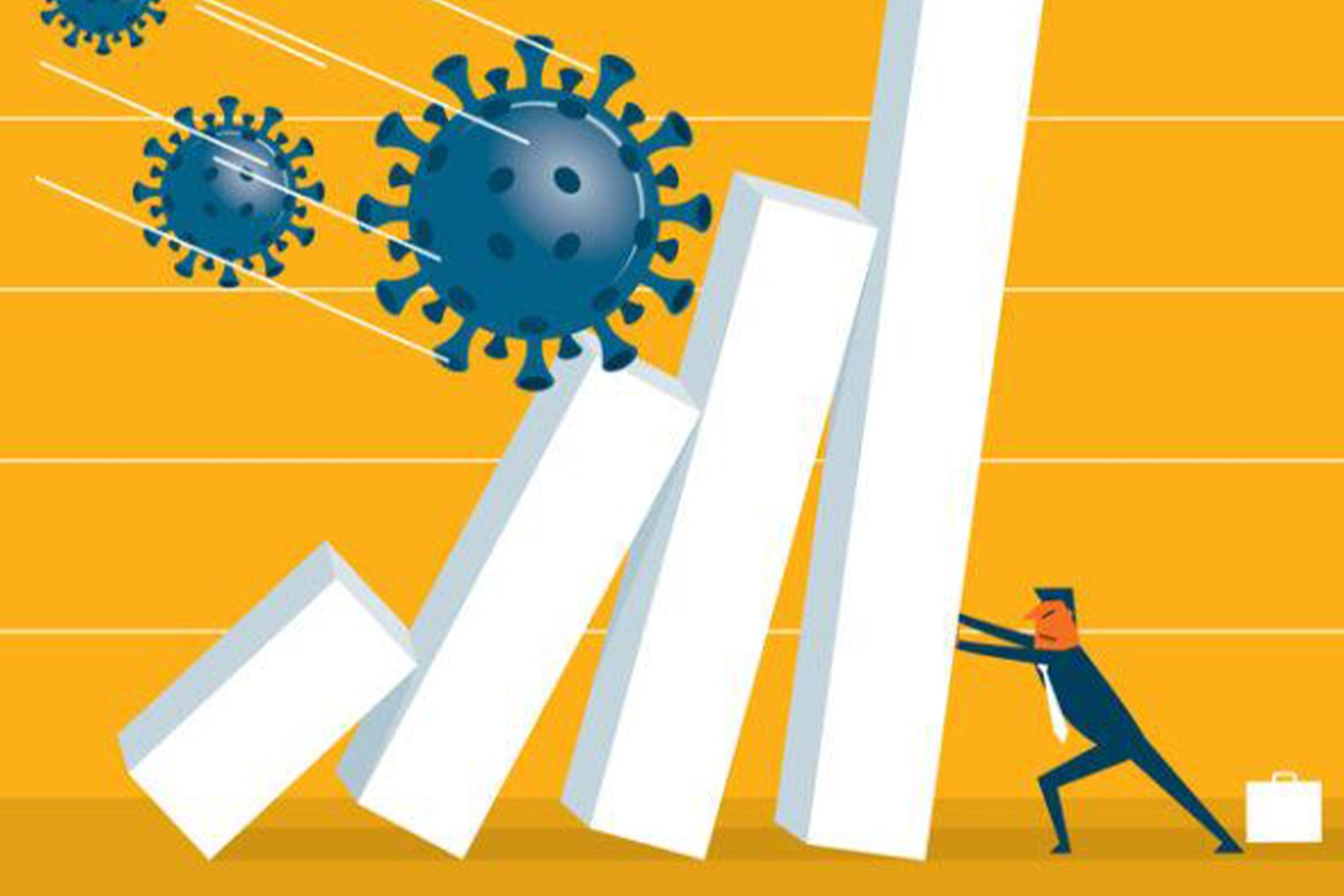 An illustration of a businessman holding up four collapsing pillars with the Coronavirus hurls down towards him.