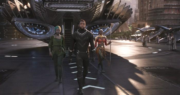 Marvel Studios' BLACK PANTHER..L to R: Nakia (Lupita Nyong'o), T'Challa/Black Panther (Chadwick Boseman) and Okoye (Danai Gurira)..Ph: Film Frame..©Marvel Studios 2018