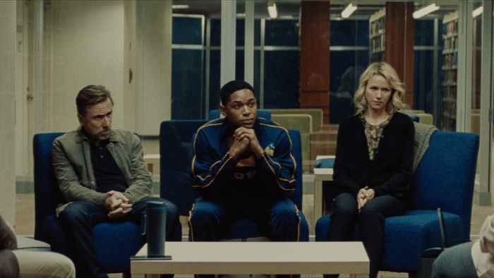 Peter Edgar (Tim Roth), Luce (Kelvin Harrison Jr), and Amy Edgar (Naomi Watts) in LUCE. Courtesy of NEON.