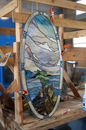 California cyprus stained glass window