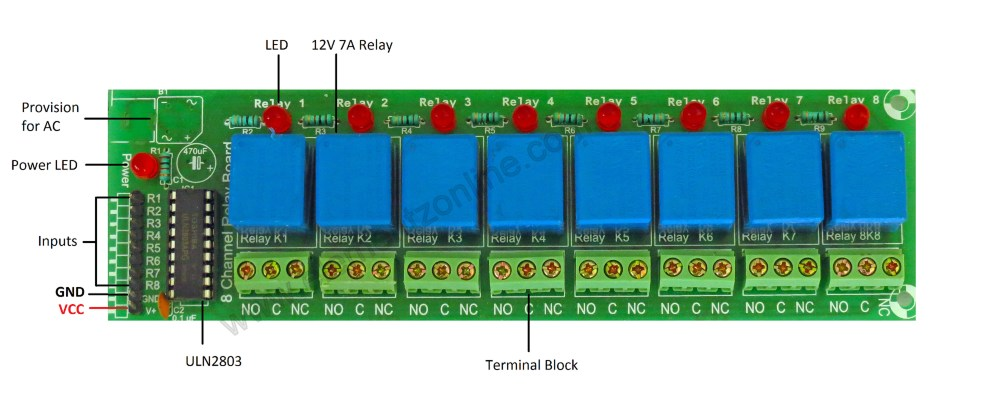medium resolution of 8channel relay board watermark connect vcc to 12v