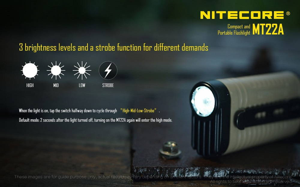 MNitecore MT22A brightness banner