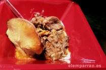 Carrillada ibérica con crema de patata y croqueta de boletus