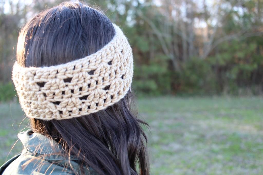 Crocus crochet headband worn
