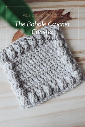 The bobble crochet coaster pin