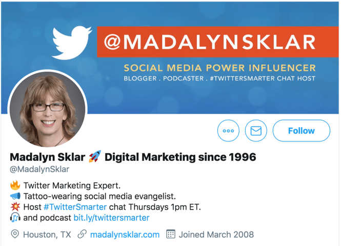 Screenshot of @MadalynSklar's Twitter profile to show you how to optimize your Twitter header image.