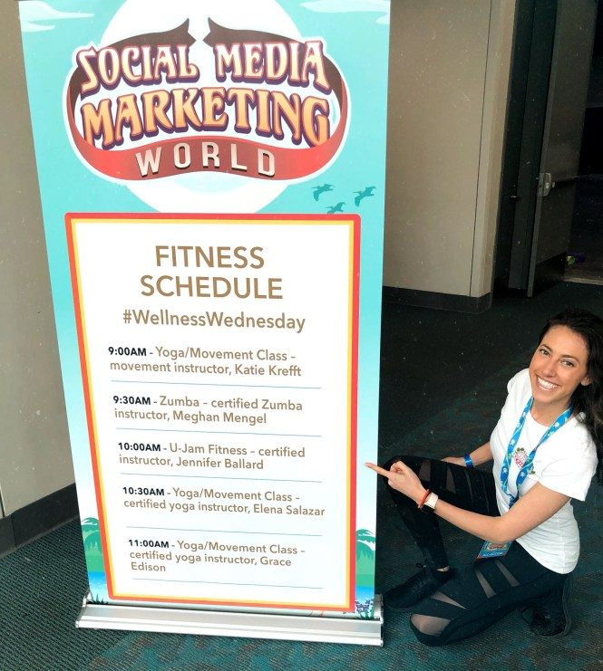 Photo of Elena Salazar volunteering at Social Media Marketing World's Wellness Wednesday.