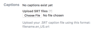 Screenshot of how to add subtitles to a Facebook video by uploading an SRT file.