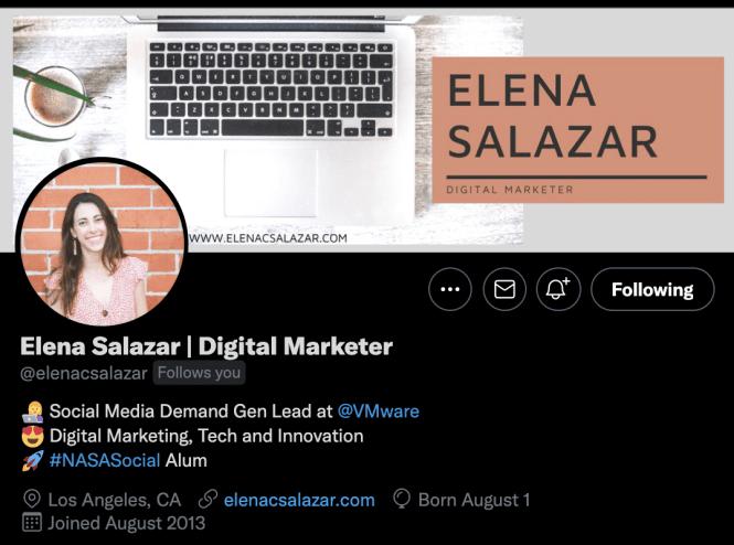 Screenshot of @elenacsalazar's Twitter bio for an example of an optimized Twitter bio.